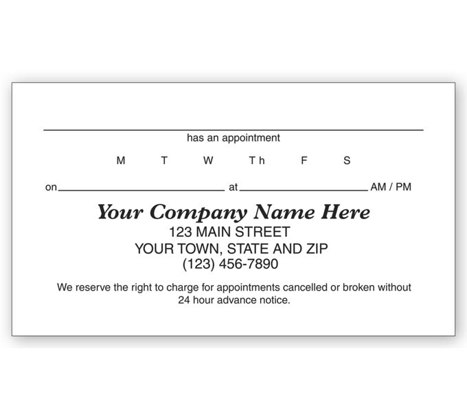77015-Appointment Business Card, 1 Sided, Vellum Stock77015