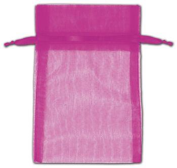 Hot Pink Organza Bags, 4 x 6