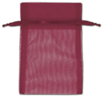 Burgundy Organza Bags, 4 x 6