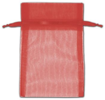 Red Organza Bags, 4 x 6