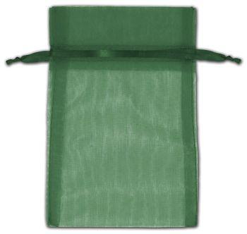 Hunter Green Organza Bags, 4 x 6