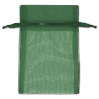 Hunter Green Organza Bags, 4 x 6