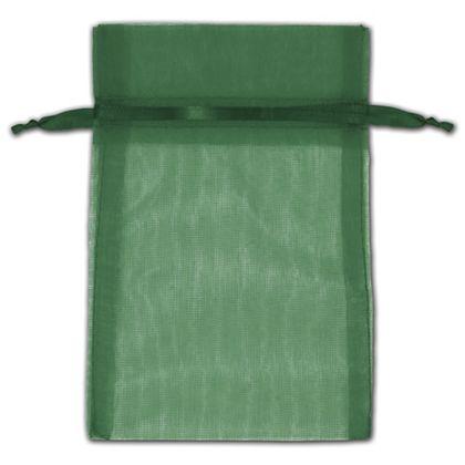 "Hunter Green Organza Bags, 4 x 6"""