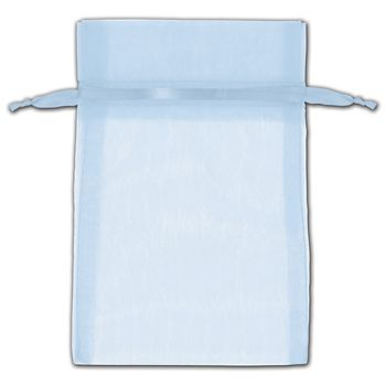 Light Blue Organza Bags, 4 x 6""