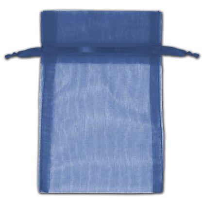 "Navy Organza Bags, 4 x 6"""