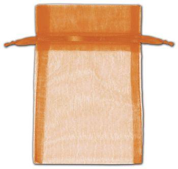 Orange Organza Bags, 4 x 6