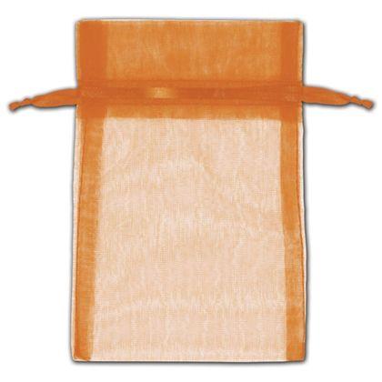 "Orange Organza Bags, 4 x 6"""