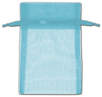 Turquoise Organza Bags, 4 x 6