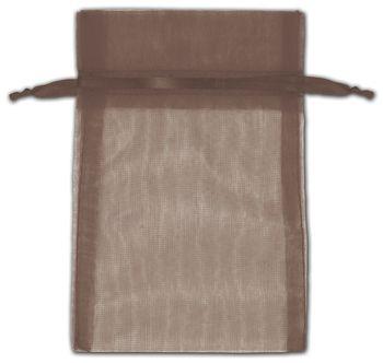 Dark Brown Organza Bags, 4 x 6