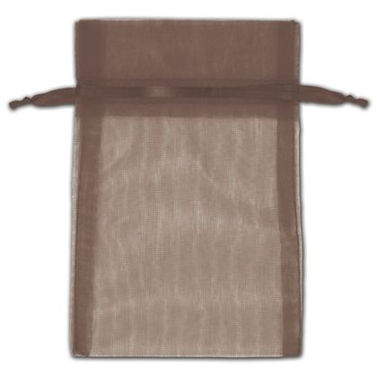 Dark Brown Organza Bags, 4 x 6""