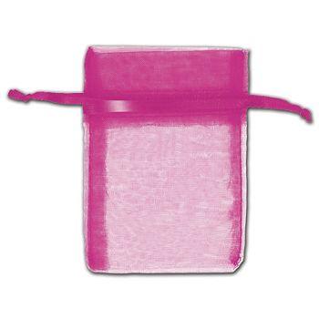 Hot Pink Organza Bags, 3 x 4