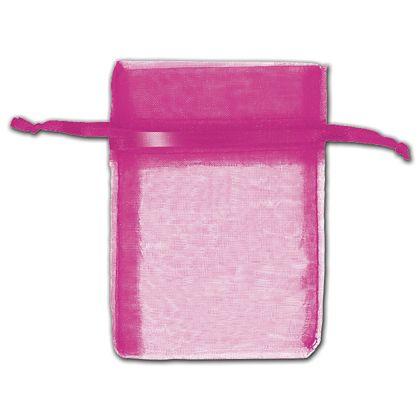 "Hot Pink Organza Bags, 3 x 4"""