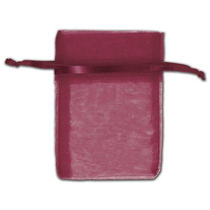 "Burgundy Organza Bags, 3 x 4"""