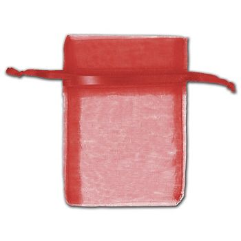 Red Organza Bags, 3 x 4