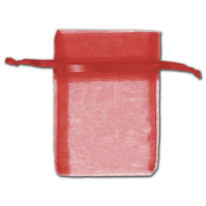 """Red Organza Bags, 3 x 4"""""""
