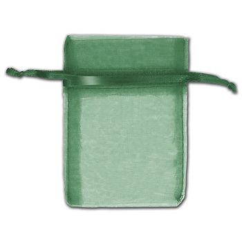 Hunter Green Organza Bags, 3 x 4