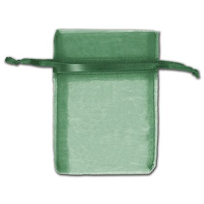 "Hunter Green Organza Bags, 3 x 4"""