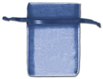 Navy Organza Bags, 3 x 4