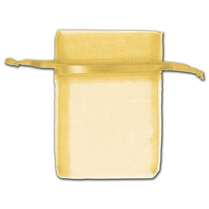"Gold Organza Bags, 3 x 4"""