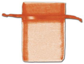 Orange Organza Bags, 3 x 4