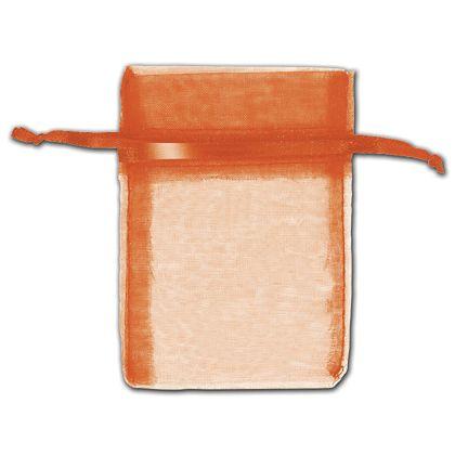 "Orange Organza Bags, 3 x 4"""