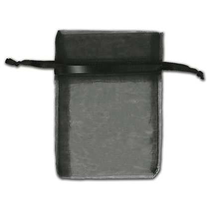"Black Organza Bags, 3 x 4"""