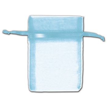 Turquoise Organza Bags, 3 x 4