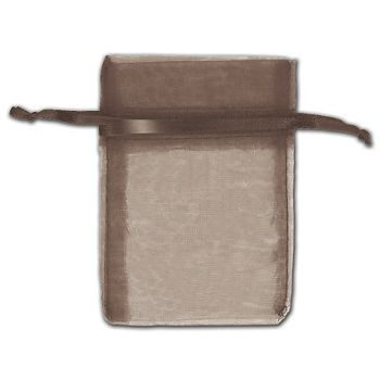 Dark Brown Organza Bags, 3 x 4""