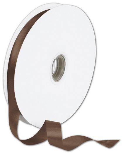 "Double Face Chocolate Satin Ribbon, 5/8"" x 100 Yds"