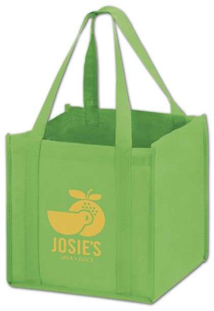 Lime Non-Woven Tote Bags, 10 x 10 x 10""