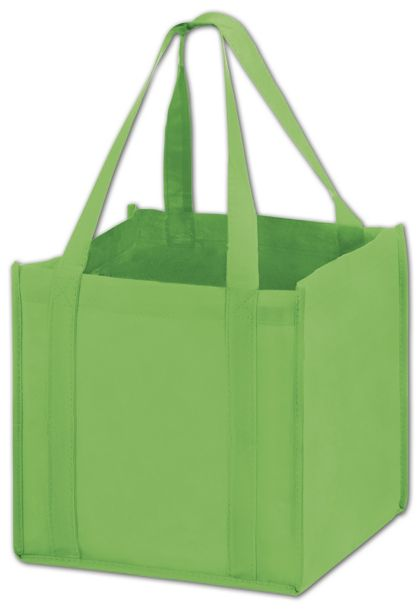 """Lime Unprinted Non-Woven Tote Bags, 10 x 10 x 10"""""""