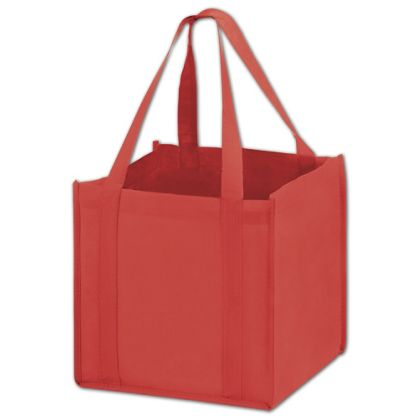 Red Unprinted Non-Woven Tote Bags, 10 x 10 x 10""