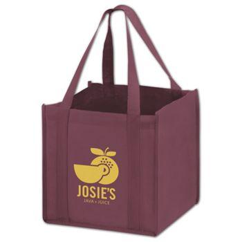 "Burgundy Non-Woven Tote Bags, 10 x 10 x 10"""