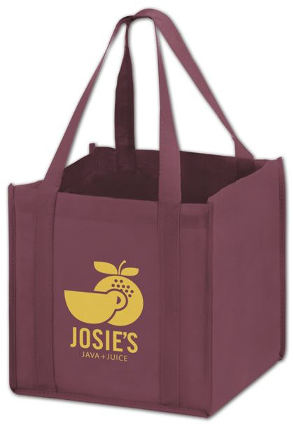 Burgundy Non-Woven Tote Bags, 10 x 10 x 10""