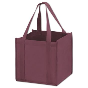 Burgundy Unprinted Non-Woven Tote Bags, 10 x 10 x 10""