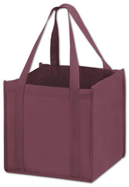 "Burgundy Unprinted Non-Woven Tote Bags, 10 x 10 x 10"""