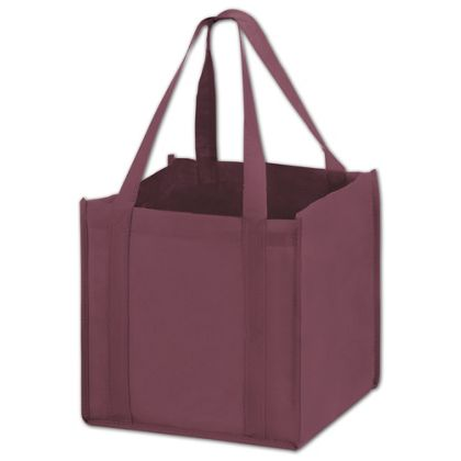 Burgundy Unprinted Non-Woven Tote Bags, 10 x 10 x 10