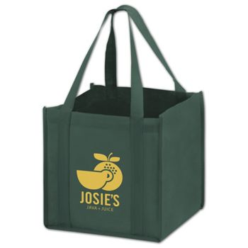 Hunter Green Non-Woven Tote Bags, 10 x 10 x 10