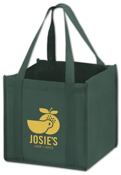 Hunter Green Non-Woven Tote Bags, 10 x 10 x 10""