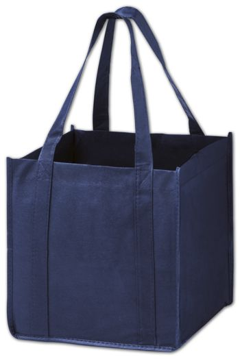 Navy Unprinted Non-Woven Tote Bags, 10 x 10 x 10
