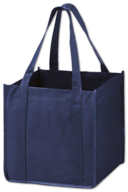 """Navy Unprinted Non-Woven Tote Bags, 10 x 10 x 10"""""""