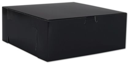 Black No Window Bakery Boxes, 1 Piece, 10 x 10 x 4""