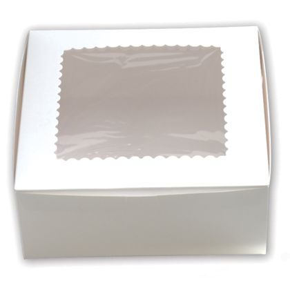 White Windowed Standard Cupcake Boxes, 6 Cupcakes