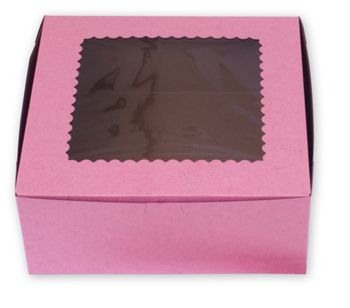 Strawberry Windowed Standard Cupcake Boxes, 6 Cupcakes