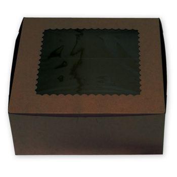 Chocolate Windowed Standard Cupcake Boxes, 6 Cupcakes