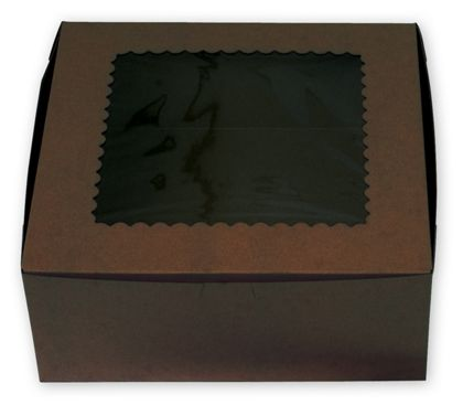 Chocolate Windowed Standard Cupcake Boxes, 6 Cupcakes