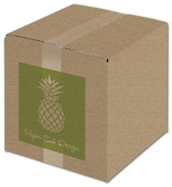 Kraft Printed Corrugated Boxes, 1 Color/1 Side, 10x10x10