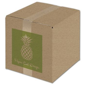 Kraft Printed Corrugated Boxes, 1 Color/1 Side, 10x10x10""