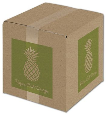 Kraft Printed Corrugated Boxes, 1 Color/2 Sides, 10x10x10