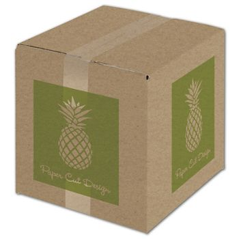 Kraft Printed Corrugated Boxes, 1 Color/4 Sides, 10x10x10